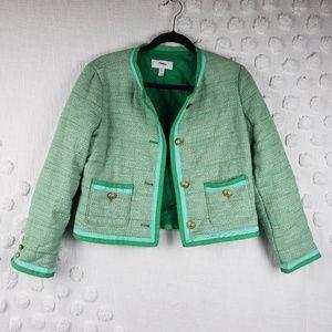J. Crew  Green Tweed Jacket size 8